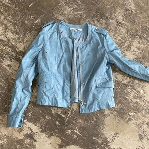 Baby blue DKNY blazer jacket bomber biker